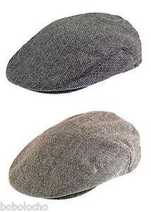 Black-or-Brown-Tweed-Herringbone-Flat-Cap-Mens-Wool-Hat-Tweed-XL-L-M-S-XS