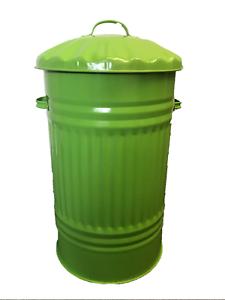 vintage Poubelle Cheval Animal Feed Trash 45 L Metal Green Bin Poubelle rétro