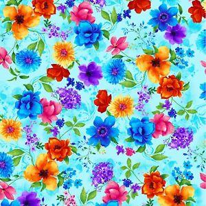 Timeless Treasures FOLK Floral Poplin Quilting Fabric c2747-Denim-M