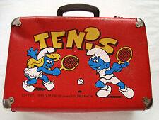Vintage The Smurfs Wooden Suitcase School bag Peyo 1989 I.M.P.S. (Brussels)