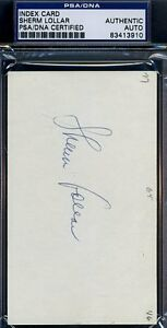 Sherm Lollar Signed Psa/dna Certified 3x5 Index Card Authentic Autograph