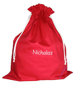 Personalised-BIG-Drill-Santa-Sack-Bag-65x50cm-Gathers-cotton-drawstring