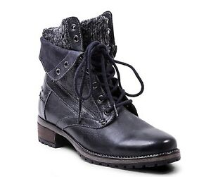 Steve-Madden-Boots-Black-Leather-Lined-Lace-Ups-Wm-Sz-36-New-In-Box