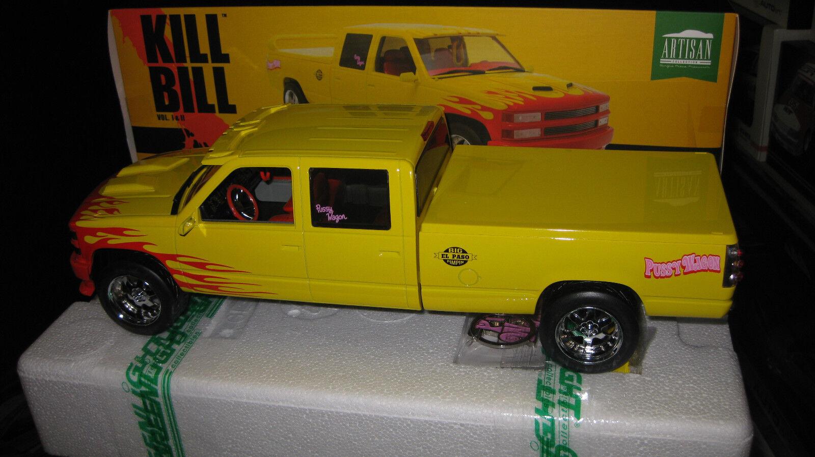 1 18 GREENLIGHT KILL BILL VOL I II PUSSY WAGON CHEVY CREW CAB C-2500 + KEYCHAIN