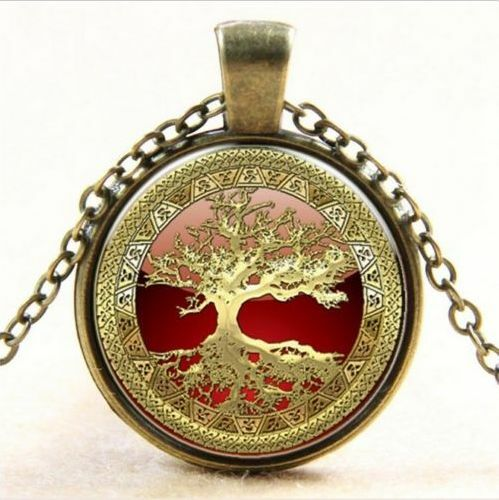 Vintage Arbre de vie Cabochon Bronze Verre Chaîne Collier Pendentif 2pcs
