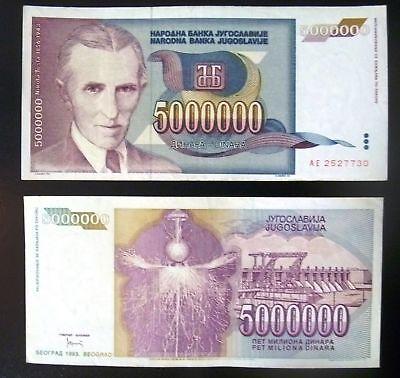 Yugoslavia 5.000.000 dinars with Nikola Tesla 1993