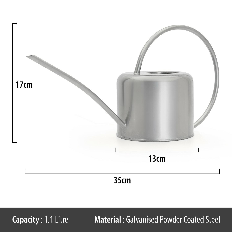 Indoor Silver Coloured Watering Can Metal Galvanised Steel 1.1L Narrow Spout UK