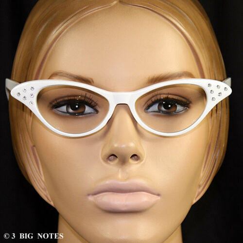 White 50s Retro Cat Eye Glasses with Rhinestones for Poodle Skirt