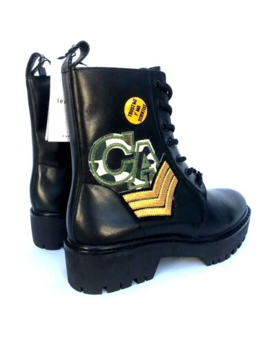 Black 7 Boots Leather 5 £110 Uk Zara Size Rrp 5158 101 Ankle Military Ref Patch wdxRzWW1qS