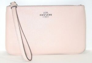 Coach-F57465-Wristlet-Light-Pink-With-Silver-Large-Crossgrain-Leather-NWT-125