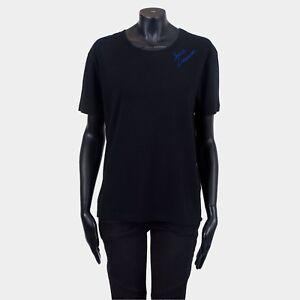 SAINT-LAURENT-PARIS-490-Black-Cotton-Tshirt-With-Blue-Embroidery-Signature-Logo