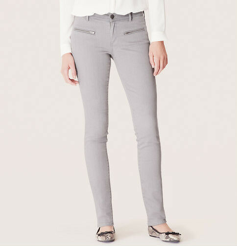 Ann Taylor LOFT Super Skinny Moto Jeans Pants in Shadow Grey Size 32 14 NWT