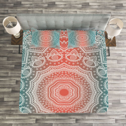Modern Mandala Print Coral and Teal Quilted Bedspread /& Pillow Shams Set