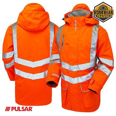 PR499 PULSAR® RAIL SPEC Unlined Storm Coat Orange Ultimate Class 3 Safety Jacket