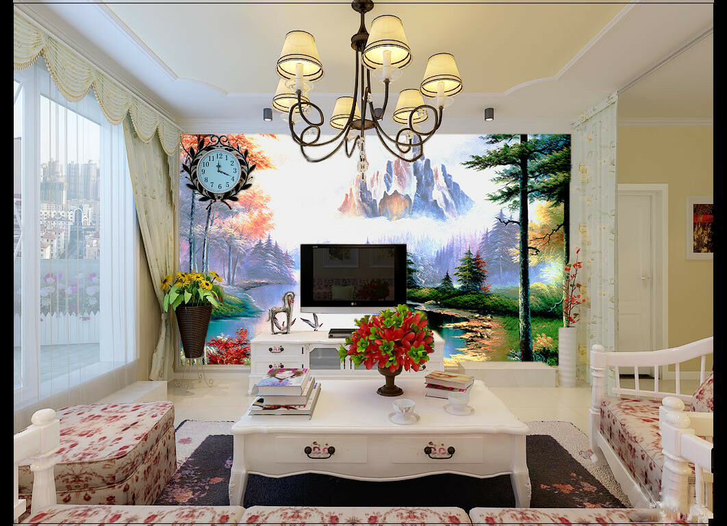 3D Mountain Lake 811 Wallpaper Mural Paper Wall Print Wallpaper Murals UK Lemon