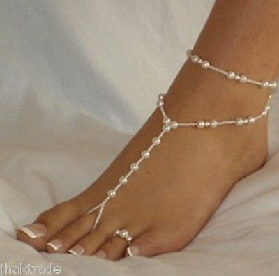 White Pearl Barefoot Sandal Anklet Foot Chain & toe ring Wedding Bride Jewellery