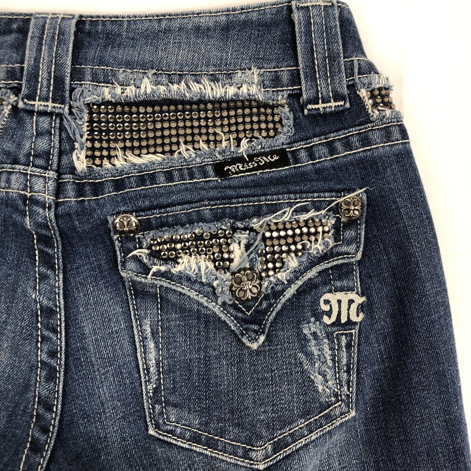 Miss Me Women's 26 Boot Cut Medium Wash Embellished Bling bluee Jeans JP4221R