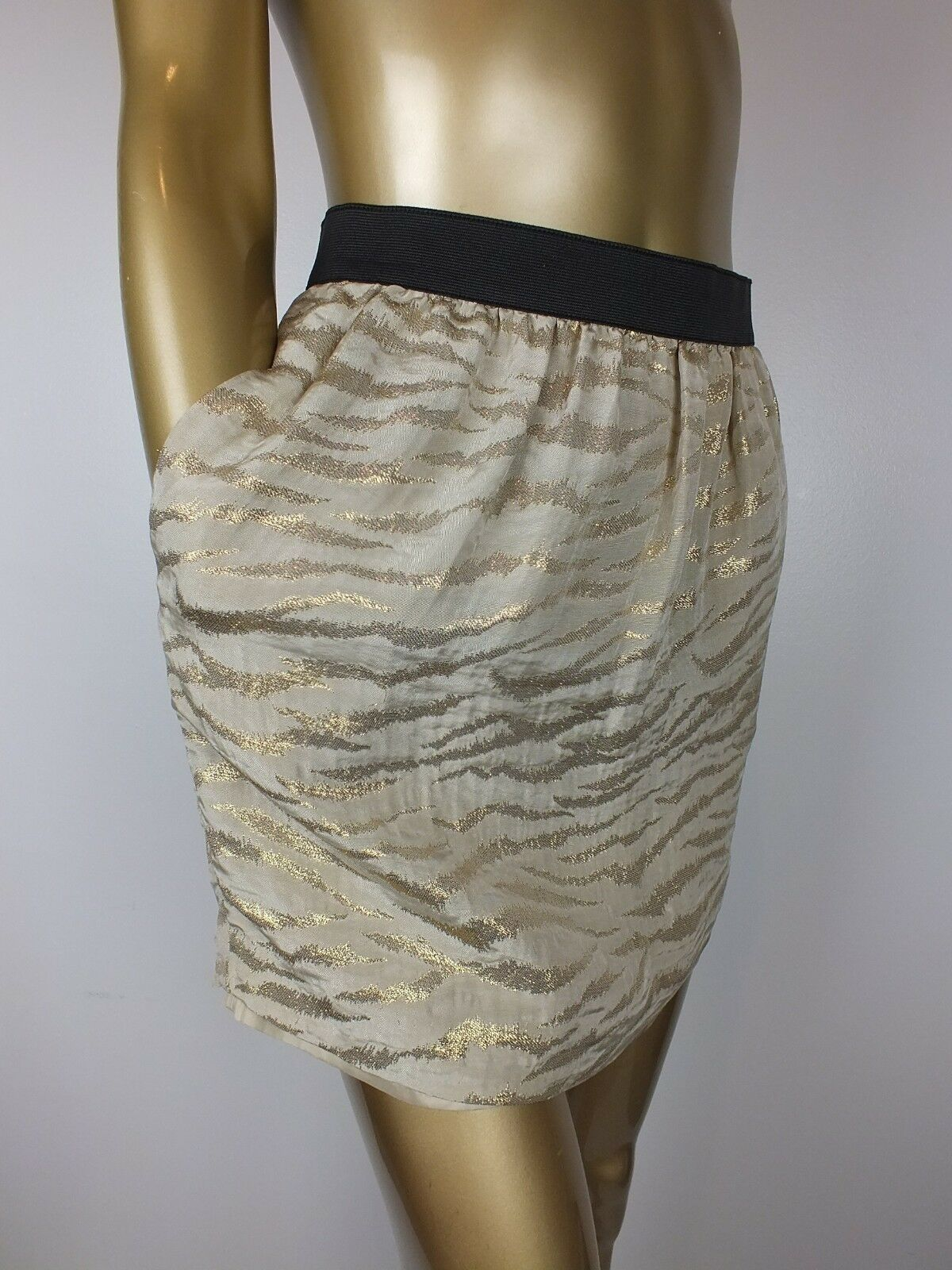 PHILLIP LIM SKIRT SILK METALLIC gold DESIGNER MINI DRESSY SKIRT 6