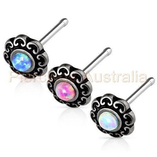 20G Fancy Synthetic Opal Nose Stud Bar Ring Body Piercing Jewellery
