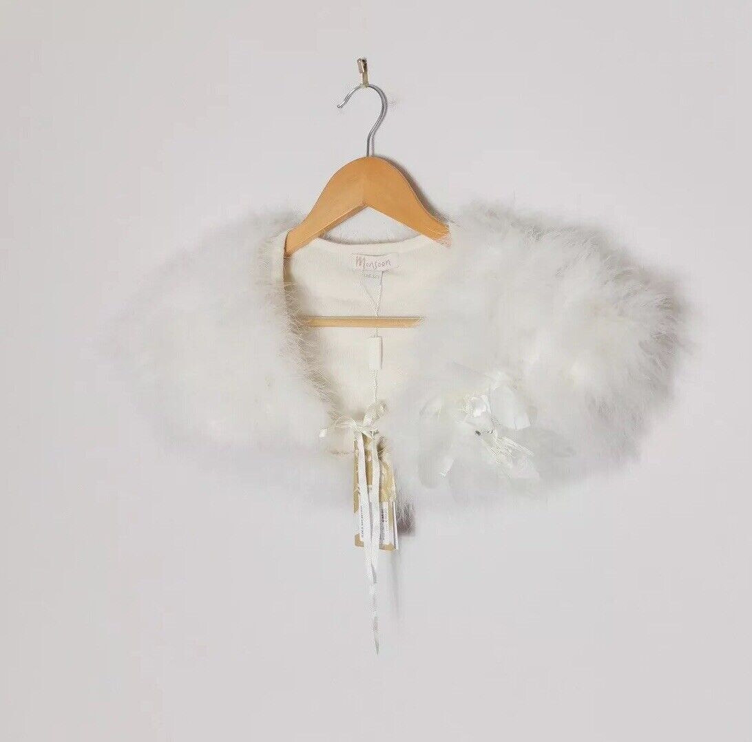 Monsoon Ivory Fifi Feather Collar With Lambswool And Angora One Size