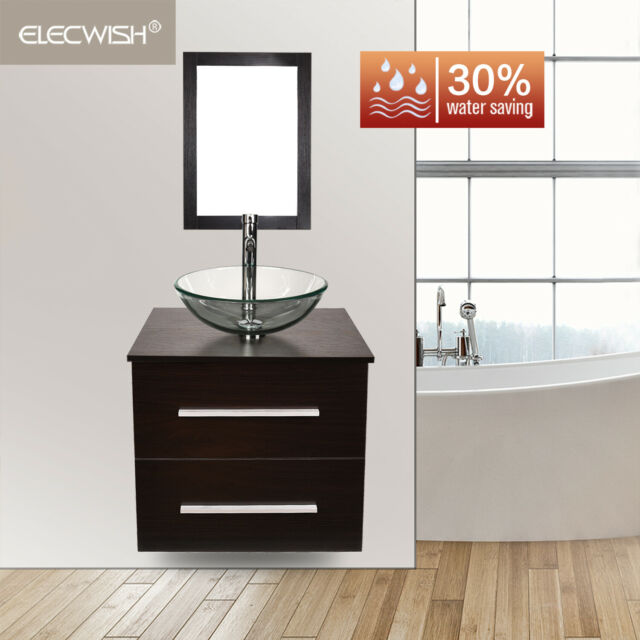 24 Floating Bathroom Vanity Wall Mount Clear Gl Sink Cabinet Faucet Combo