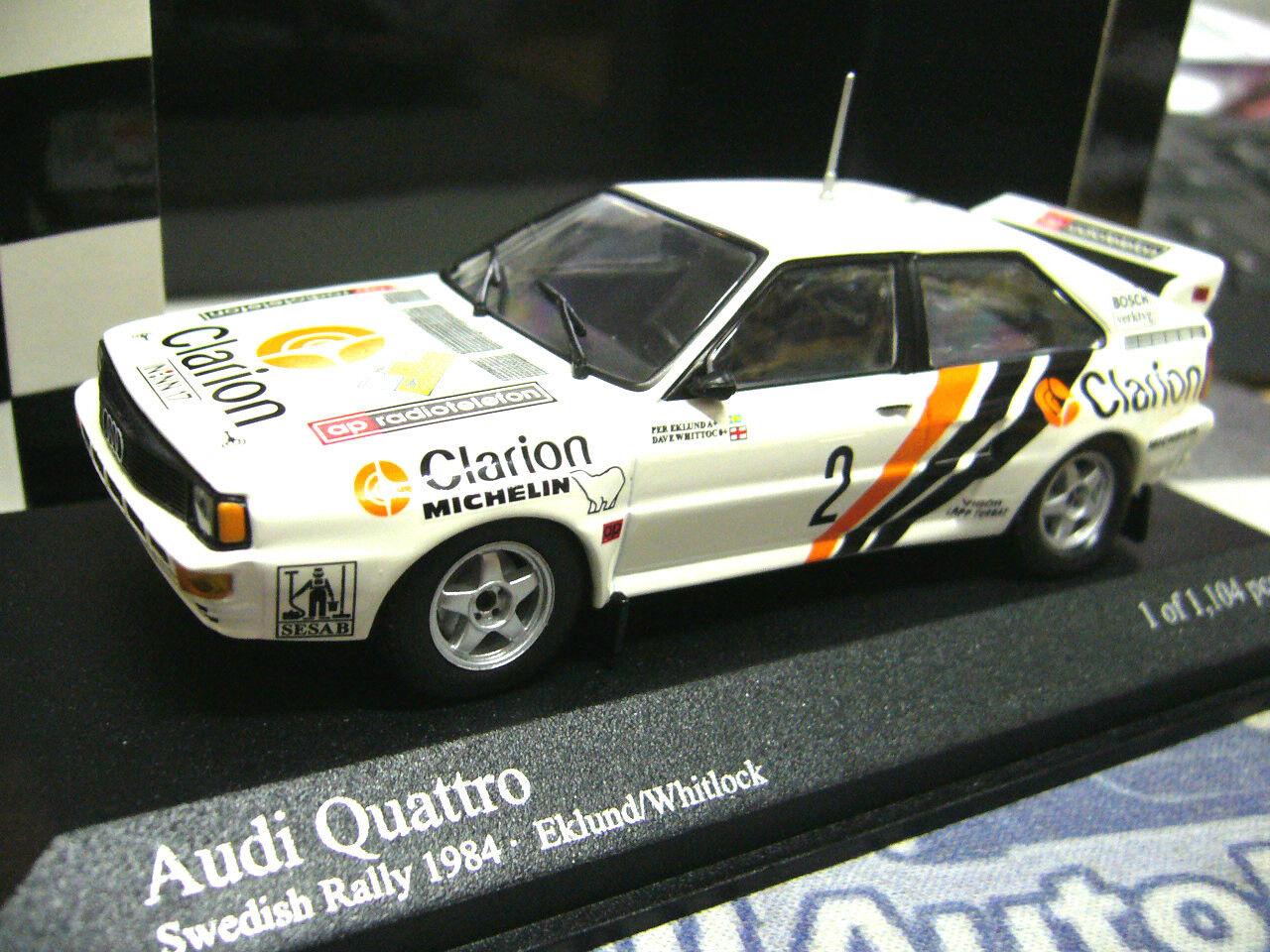 Audi Quattro Rallye Suède coupe du monde 1984 1984 1984  2 Eklund Clarion PMA Minichamps 1 43 50c535