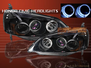 Fit-For-01-03-HONDA-CIVIC-PROJECTOR-HEADLIGHTS-BLACK-2HALO-2-4D