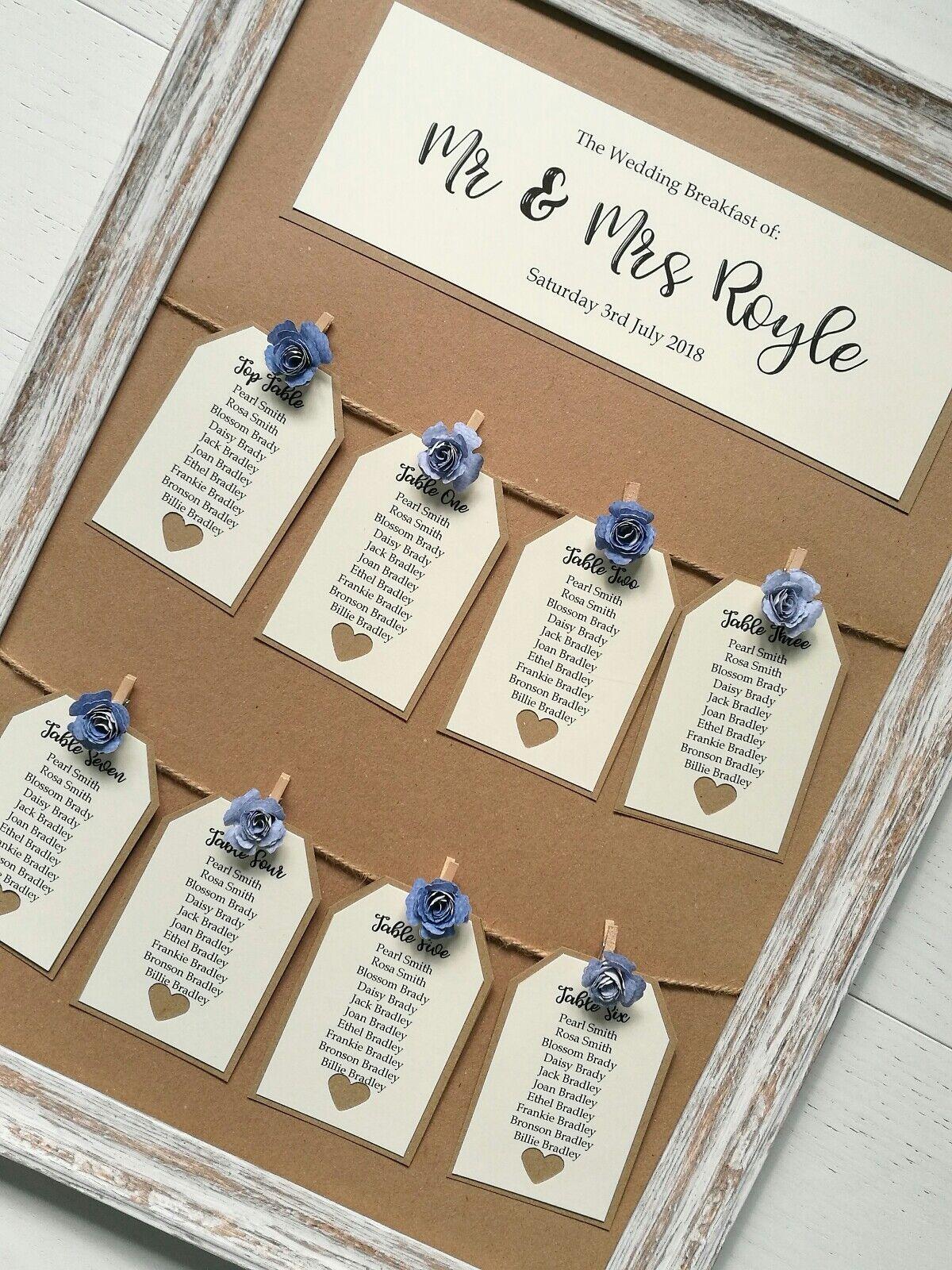 Encadrée rose vintage Peg et Tag design table de mariage plan Assise plan a3