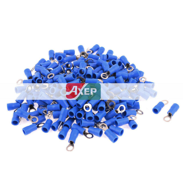200 Pcs RV2-4 AWG 16-14 Blue PVC Cap Non Insulated Ring Terminals Connector 27 A