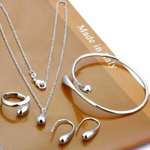 Elegant-Jewelry-Set-Women-925-Silver-Gold-Drop-Necklace-Bracelet-Earring-Ring