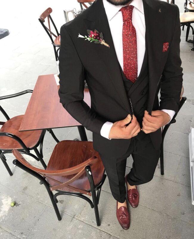 Herren Anzug 5 Teiler Slim Fit Sakko Hose Weste Jacke Hochzeit Smoking Business