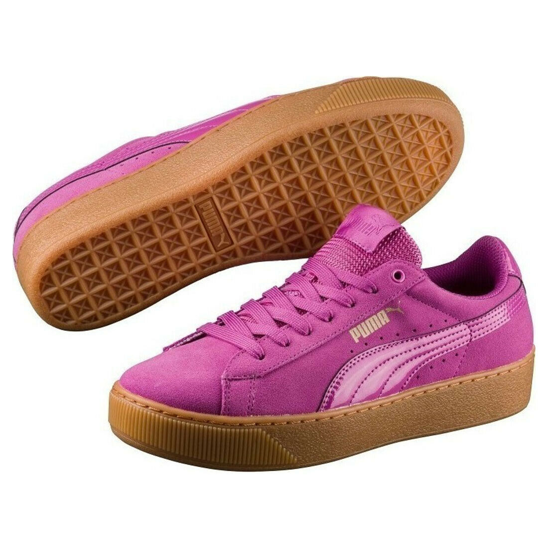 Puma Vikky Platform Trainers pink purple Pink Womens Suede Lace Up shoes