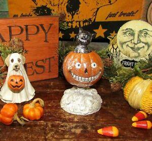 Prim-Antique-Vtg-Style-Halloween-Jack-O-Lantern-w-Black-Cat-Resin-Bobble-Head