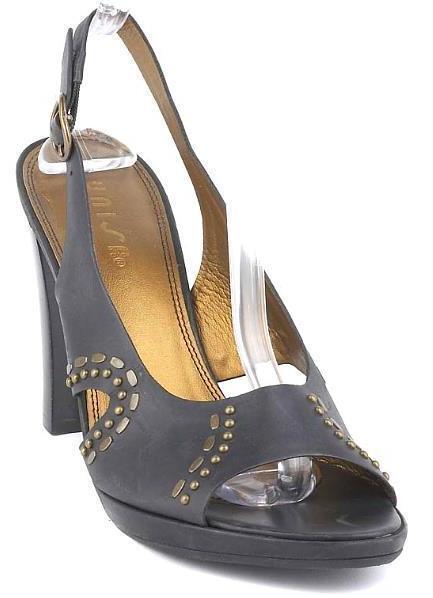 New UNISA Women Black Leather High Heel Sandal Open Toe Slingback Sandal Heel Shoe Sz 9.5 B 0b05e6