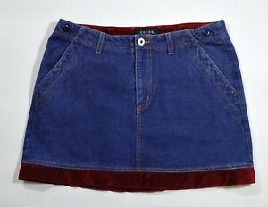 bcea6f3e6 Vintage GUESS Women's 30 Denim Jean Mini Skirt, Burgundy Velour Trim ...