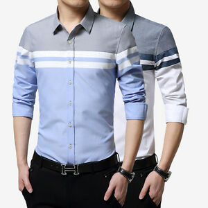 New-Men-039-s-Long-Sleeves-Luxury-Casual-Slim-Stylish-Dress-Shirts-XS-S-M-L-XL-GT348