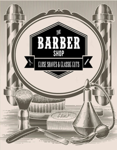 BARBER SHOP CLASSIC CUTS LARGE METAL TIN SIGN POSTER VINTAGE STYLE PLAQUE