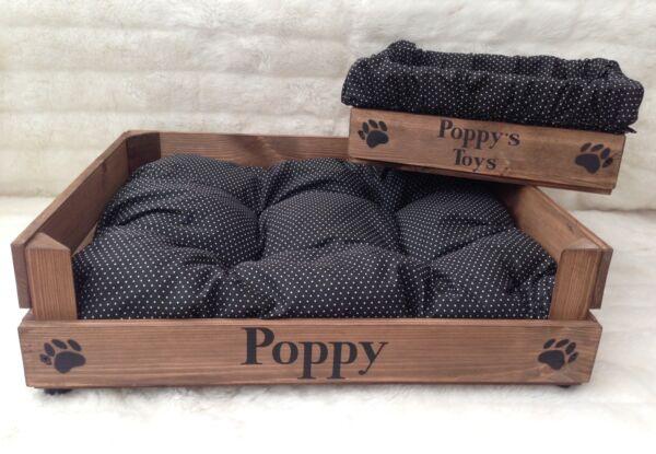 Cane/gatto Bed & Toy Box In Legno Può Essere Personalizzato Taglia Small