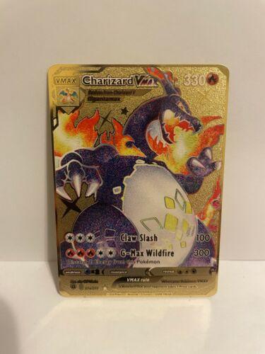 Shiny CHARIZARD VMAX Shining Fates Custom Gold Metal Pokemon Card