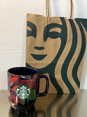 Starbucks 2020 Black Poinsettia Christmas Holiday Mug 12oz RARE