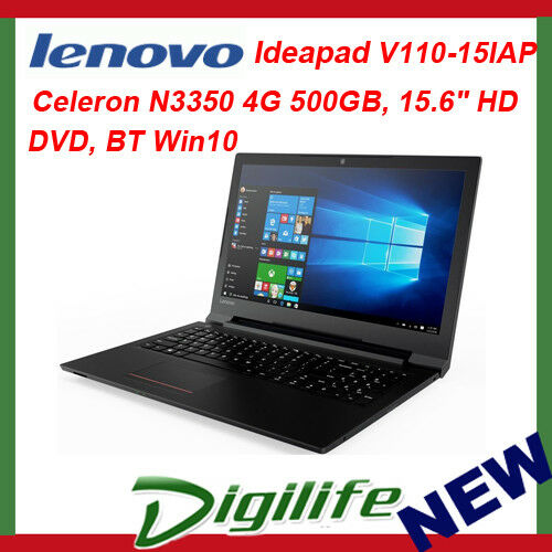 "1 of 1 - Lenovo IdeaPad V110 15.6"" HD LED Intel N3350 4GB 500GB DVD/RW WiFi-AC BT Win10"