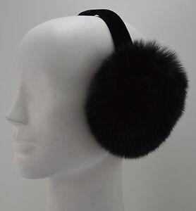Real Black Fox Fur Earmuffs New Made in the USA