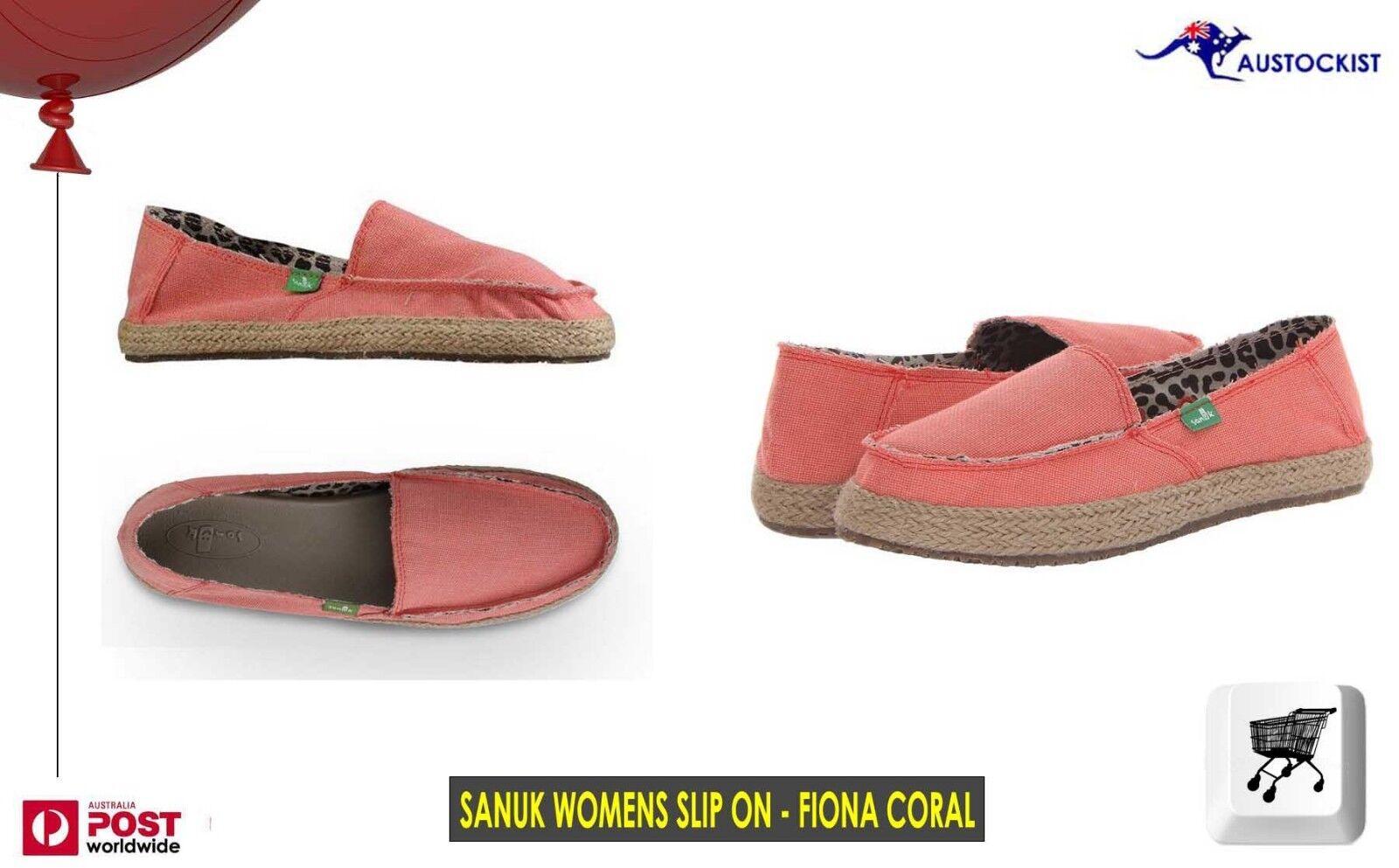 Sanuk Fiona Slip On surfista Sandalia Coral Zapatos Coral Sandalia Talla 8-US 6-UK 39 = UE BNWT 36eae6