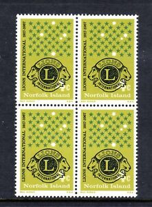 1967-MUH-NORFOLK-Is-4-cents-LIONS-50th-ANNIV-BLOCK-of-4-REPLICATE-of-AUST
