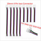 10PCS 10mm 4 Pin two Connector With Cable for SMD LED 5050 RGB Strip Light