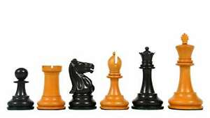 """Chess Pieces in Ebony / Antiqued Box Wood with King Side Stamping - 3.75"""" King"""