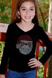 Santa-Face-Christmas-Holiday-children-039-s-rhinestone-Bling-shirt