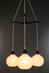 Teak-Holz-Glas-Pendel-Leuchte-Daenemark-Lampe-3flammig-Vintage-Lamp-60er-Jahre