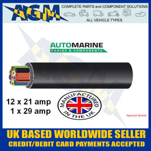 10 Meter Length Of 13 Core Trailer Cable, 21 Amp Thin Wall Multi Core Wire