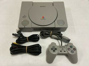 Playstation-ps1-SCPH-5500-Sony-Videospiel-Konsole-Japan-AC-Adapter-Video-Kabel
